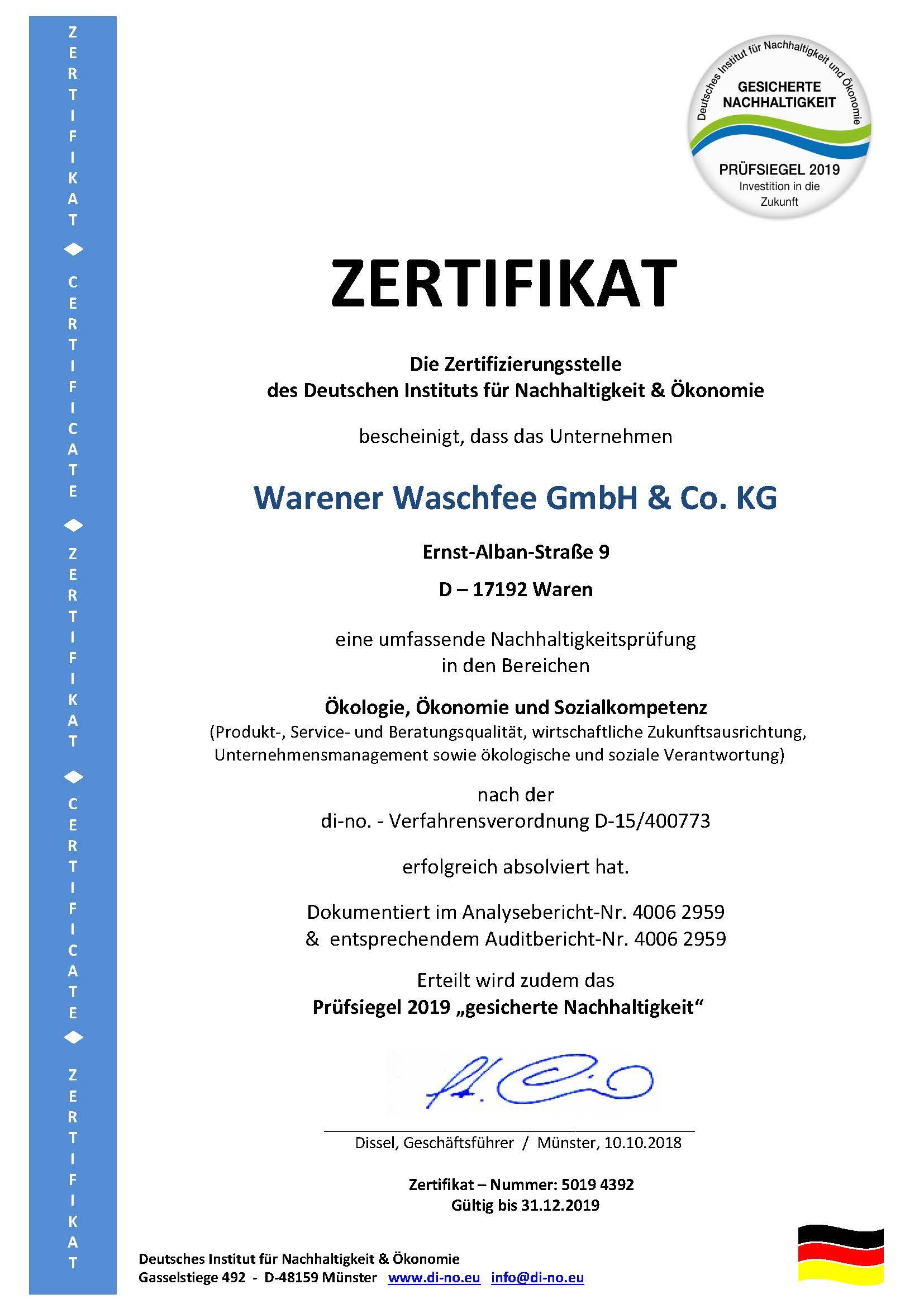 ZERTIFIKAT Warener Waschfee 2019